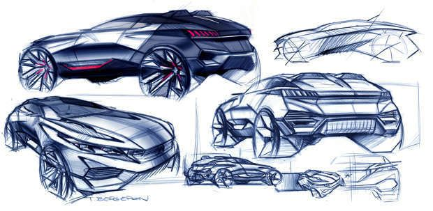 Os sketches iniciais da equipe de design da Peugeot já mostravam como seria o Peugeot Quartz