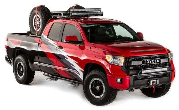A pick-up Toyota Tundra ganhou suas versões para o SEMA Show. Esta é a TRD. Note os estribos individuais em alumínio.