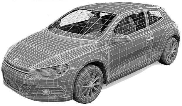 Desenho tipo wireframe gerado por computador de um automóvel