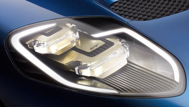 Detalhe dos faróis do Ford GT