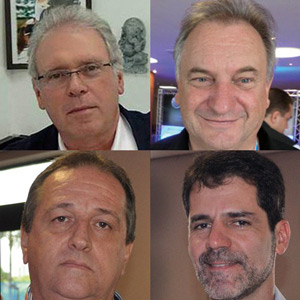 Distribuidores de som e acessórios - Carlito Pintucci, Ademir Gabardo, Luiz Carlos Fávero e Marcelo Leite