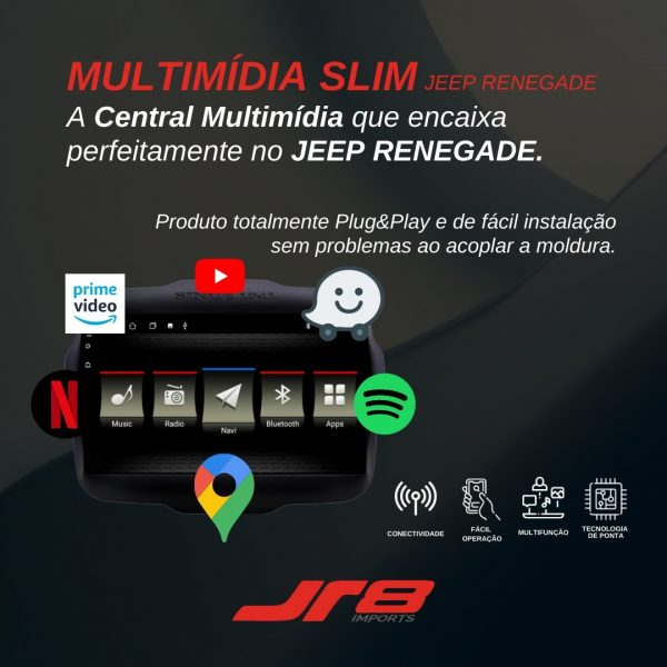 JR8 Imports destaca central multimídia dedicada e slim para Jeep Renegade
